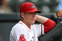 Manager Darren Fenster (3) of the Greenville Drive prior to a game against the Asheville Tourists on Wednesday, August 2, 2017, at Fluor Field at the West End in Greenville, South Carolina. Greenville won, 1-0. (Tom Priddy/Four Seam Images)