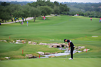 Brooks Koepka (USA) watches his putt on 18 during round 1 of the Valero Texas Open, AT&amp;T Oaks Course, TPC San Antonio, San Antonio, Texas, USA. 4/20/2017.<br /> Picture: Golffile | Ken Murray<br /> <br /> <br /> All photo usage must carry mandatory copyright credit (&copy; Golffile | Ken Murray)