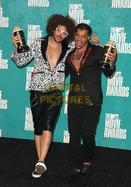 Red Foo, Sky Blu, LMFAO.2012 MTV Movie Awards held at the Gibson Amphitheatre, Universal City, California, USA..3rd June 2012.full length white black leopard print jacket trousers shorts leather award trophy trophies winner winners glasses  .CAP/ADM/SLP/LS.©Lee Sherman/Starlitepics/AdMedia/CapitalPictures.