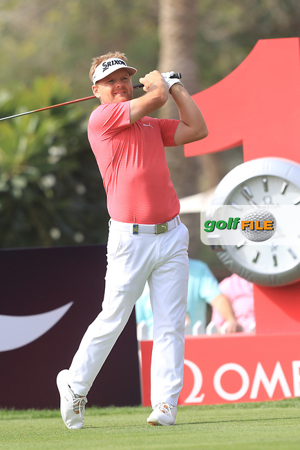 Soren Kjeldsen (DEN) on the 1st tee during Round 2 of the Omega Dubai Desert Classic, Emirates Golf Club, Dubai,  United Arab Emirates. 25/01/2019<br /> Picture: Golffile | Thos Caffrey<br /> <br /> <br /> All photo usage must carry mandatory copyright credit (© Golffile | Thos Caffrey)