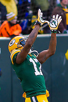 Green Bay Packers wide receiver Davante Adams (17) prior to a game against the New York Giants on January 8th, 2017 at Lambeau Field in Green Bay, Wisconsin.  Green Bay defeated New York 38-13. (Brad Krause/Krause Sports Photography)