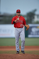 Relief pitcher Chase Chaney (53), of the AZL Angels, asks the umpire for two more warm-up pitches during an Arizona League game against the AZL Padres 1 on August 5, 2019 at Tempe Diablo Stadium in Tempe, Arizona. AZL Padres 1 defeated the AZL Angels 5-0. (Zachary Lucy/Four Seam Images)