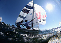 RIO DE JANEIRO, BRAZIL - AUGUST 14:  Dave Hughes and Stuart McNay of USA in action before their 470 class race on Day 9 of the Rio 2016 Olympic Games at the Marina da Gloria on August 14, 2016 in Rio de Janeiro, Brazil.  (Photo by Clive Mason/Getty Images)