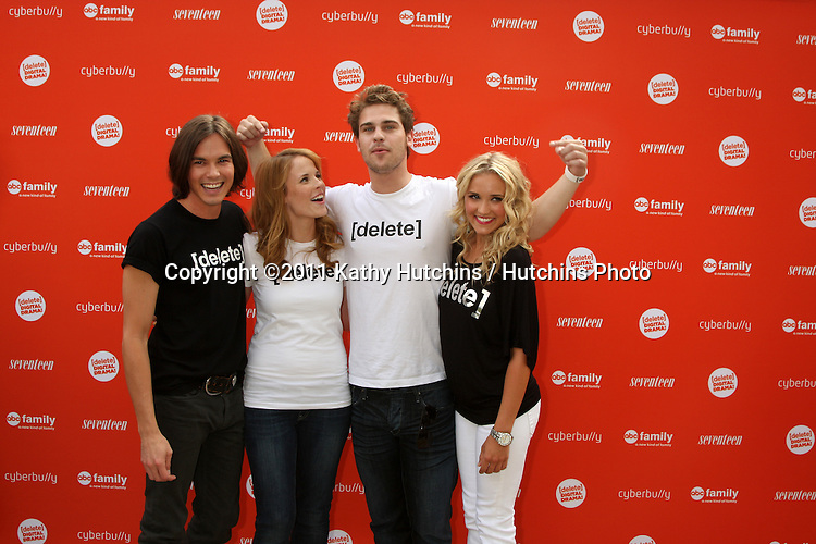 LOS ANGELES - JUL 14:  Tyler Blackburn, Katie Leclerc, Grey Damon, Emily Osment arriving at the Delete Digital Drama Rally at Americana on July 14, 2011 in Glendale, CA