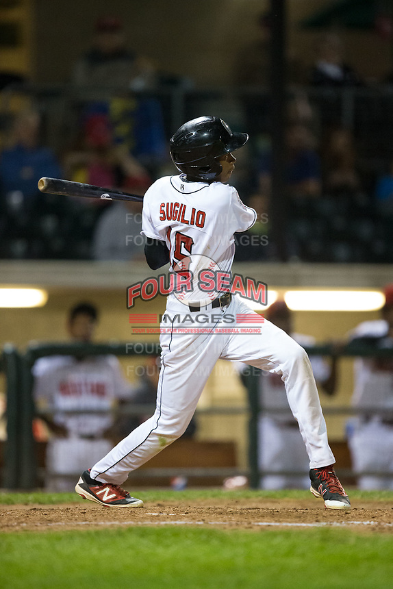 Andy Sugilio (15) of the Billings Mustangs follows through on his swing against the Missoula Osprey at Dehler Park on August 21, 2017 in Billings, Montana.  The Osprey defeated the Mustangs 10-4.  (Brian Westerholt/Four Seam Images)
