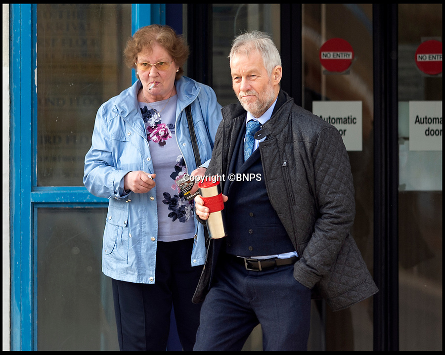 BNPS.co.uk (01202 558833)<br /> Pic:  RogerArbon/BNPS<br /> <br /> Jeanette Obertelli and David Barnatt outside Poole Magistrates Court.<br /> <br /> A couple who spent six months shining a powerful torch into their neighbours' home in a row over a security light have been convicted of harassment.<br /> <br /> David Barnatt, 70, and his 66-year-old partner Jeanette Obertelli took a dim view of Simon and Alison Morgan's new outdoor light that was active from dusk to dawn.<br /> <br /> So they took to walking their dog past the Morgans' house late at night and deliberately aimed a torch through their windows on 70 occasions.