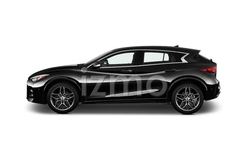 Car Driver side profile view of a 2017 Infiniti QX30 Sport 5 Door SUV Side View