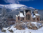 winter, snow, Saint Malo, chapel, Rocky Mountains, Colorado, historic
