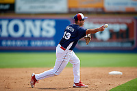 Reading Fightin Phils third baseman third baseman Damek Tomscha (13) throws to first base during the first game of a doubleheader against the Portland Sea Dogs on May 15, 2018 at FirstEnergy Stadium in Reading, Pennsylvania.  Portland defeated Reading 8-4.  (Mike Janes/Four Seam Images)