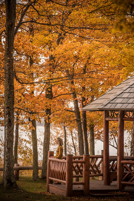 A gazebo on the Lake Superior lakeshore at Presque Isle Park in Marquette, Michigan.