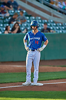 Andrew Shaps (14) of the Ogden Raptors during the game against the Orem Owlz at Lindquist Field on September 3, 2019 in Ogden, Utah. The Raptors defeated the Owlz 12-0. (Stephen Smith/Four Seam Images)