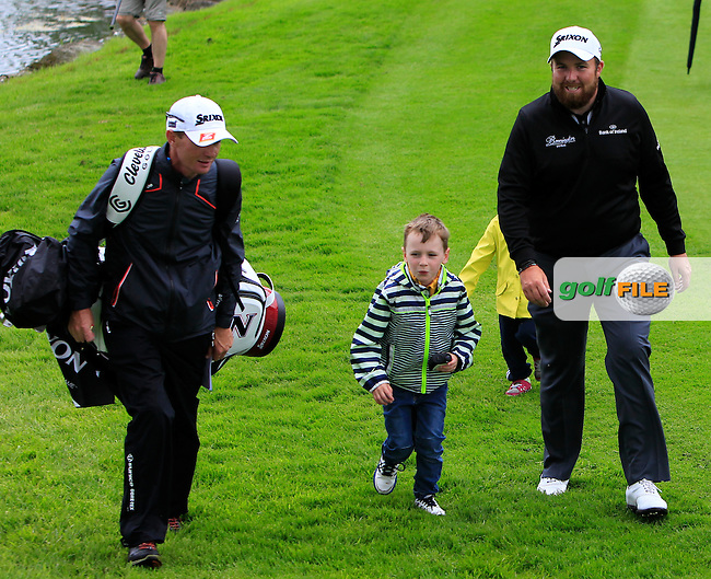 Shane Lowry (IRL) with Dermot Byrne and his child on the 11th during Tuesday's Practice round of the Dubai Duty Free Irish Open Trophy at The K Club, Straffan, Co. Kildare<br /> Picture: Golffile | Thos Caffrey<br /> <br /> All photo usage must carry mandatory copyright credit <br /> (&copy; Golffile | Thos Caffrey)
