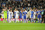 Real Madrid´s players and FC Shalke 04´s players grateful the supporters during 2014-15 Champions League match between Real Madrid and FC Shalke 04 at Santiago Bernabeu stadium in Madrid, Spain. March 10, 2015. (ALTERPHOTOS/Luis Fernandez)
