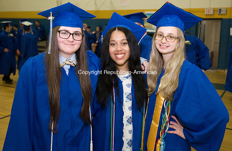WINSTED, CT-062317JS09- Gilbert graduates, from left, Sara Pluff; Jessica Sherrod and Avery Moon, pose for a photo prior to graduation ceremonies Friday at the Gilbert School in Winsted. <br /> Jim Shannon Republican-American