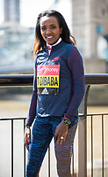 LONDON, ENGLAND 19 APRIL, Tirunesh Dibaba attends Virgin Money London Marathon Elite Women's photocall at Westminster, London UK 19th April 2017<br /> CAP/PP/GM<br /> &copy;GM/PP/Capital Pictures