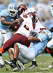 09 September 2006: North Carolina's Jacoby Watkins (16) tackles Virginia Tech's Branden Ore (28). The University of North Carolina Tarheels lost 35-10 to the Virginia Tech Hokies at Kenan Stadium in Chapel Hill, North Carolina in an Atlantic Coast Conference NCAA Division I College Football game.