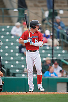 Rochester Red Wings Brent Rooker (19) at bat during an International League game against the Charlotte Knights on June 16, 2019 at Frontier Field in Rochester, New York.  Rochester defeated Charlotte 11-5 in the first game of a doubleheader that was a continuation of a game postponed the day prior due to inclement weather.  (Mike Janes/Four Seam Images)
