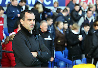 Pictured: Everton manager Roberto Martinez. Sunday 16 February 2014<br />