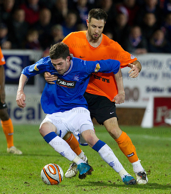 Kyle Lafferty shields the ball from Mihael Kovacevic