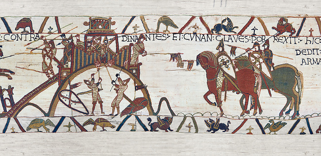 Bayeux Tapestry Scene 19 - After the Norman attacjk of Dinan the Duke of Brittany surrenders and hands over the city keys to Duke William
