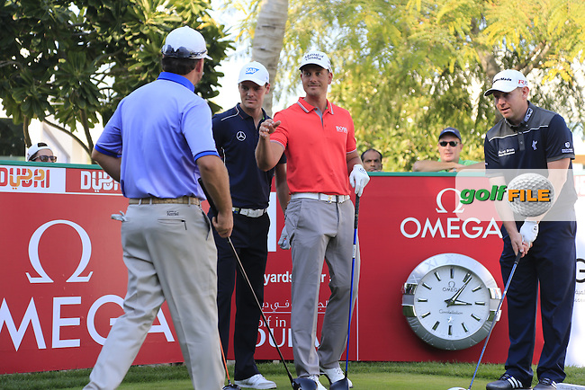 Graeme McDowell, Martin Kaymer, Henrik Stenson and Stephen Gallacher on the 10th tee to start Tuesday's Challenge Match 2 man scramble of the 2015 Omega Dubai Desert Classic held at the Emirates Golf Club, Dubai, UAE.: Picture Eoin Clarke, www.golffile.ie: 1/27/2015
