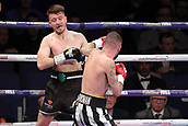 24th March 2018, O2 Arena, London, England; Matchroom Boxing, WBC Silver Heavyweight Title, Dillian Whyte versus Lucas Browne; Undercard fight between  Lewis Ritson versus Scott Cardle British Lightweight championship; Lewis Ritson attacks Scott Cardle against the ropes during the first round