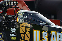 Aug. 31, 2012; Claremont, IN, USA: NHRA top fuel dragster driver Tony Schumacher during qualifying for the US Nationals at Lucas Oil Raceway. Mandatory Credit: Mark Rebilas-