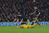 Brighton &amp; Hove Albion's goalkeeper Matthew Ryan receives a yellow card and concedes a penalty for this tackle on Burnley's Ashley Barnes<br /> <br /> Photographer David Horton/CameraSport<br /> <br /> The Premier League - Brighton and Hove Albion v Burnley - Saturday 9th February 2019 - The Amex Stadium - Brighton<br /> <br /> World Copyright &copy; 2019 CameraSport. All rights reserved. 43 Linden Ave. Countesthorpe. Leicester. England. LE8 5PG - Tel: +44 (0) 116 277 4147 - admin@camerasport.com - www.camerasport.com