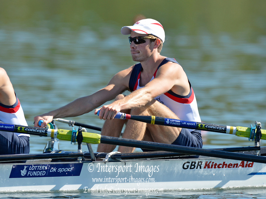 Varese,  ITALY. 2012 FISA European Championships, Lake Varese Regatta Course. ..GBR LM2X, Bow Chris BODDY, at the start of their heat of the Men's lightweight Sculls..11:30:06  Friday  14/09/2012.....[Mandatory Credit Peter Spurrier:  Intersport Images]  ..2012 European Rowing Championships Rowing, ..Rowing, European,  2012 010723.jpg....
