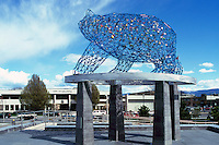 Kelowna, BC, British Columbia, Canada - Bear Sculpture (artist Brower Hatcher) in Stuart Park