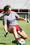 Meghan Berlingo, Washington State senior goal keeper, makes a kick save during the Cougars practice at the Lower Soccer Field in Pullman, Washington, on August 12, 2010.