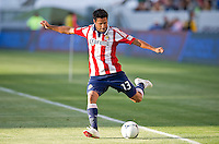 CARSON, CA - April 1, 2012: Ante Jazic (13) of Chivas during the Chivas USA vs Sporting KC match at the Home Depot Center in Carson, California. Final score Sporting KC 1, Chivas USA 0.