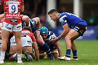 Max Green of Bath Rugby puts the ball into a scrum. Gallagher Premiership match, between Bath Rugby and Gloucester Rugby on September 8, 2018 at the Recreation Ground in Bath, England. Photo by: Patrick Khachfe / Onside Images