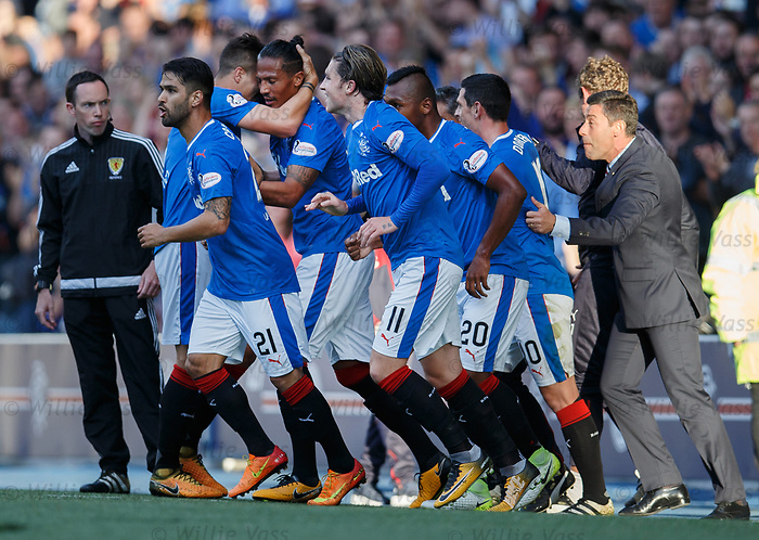 The entire Rangers team and management celebrate with Bruno Alves