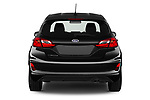 Straight rear view of a 2019 Ford Fiesta ST-Line 5 Door Hatchback stock images