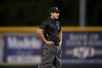 Field umpire Ricardo Estrada during a California League game between the Modesto Nuts and the Lake Elsinore Storm at John Thurman Field on May 11, 2018 in Modesto, California. Modesto defeated Lake Elsinore 3-1. (Zachary Lucy/Four Seam Images)