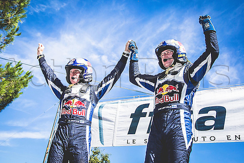 04.10.2015. Corsica. WRC Rally of Corsica, final stage.  Tour winners Jari-Matti Latvala (FIN) and Mikka Antilla (FIN) - Volkswagen Polo WRC