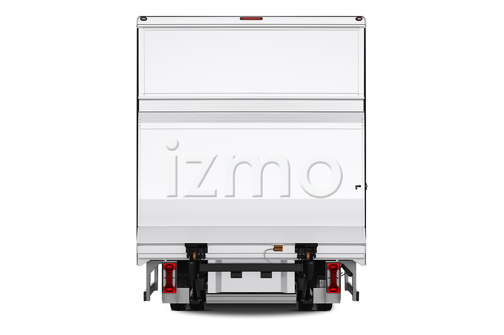 Straight rear view of 2018 Iveco Daily - 4 Door Cargo Van Rear View  stock images