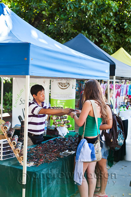 Tourists shopping at the Esplanade Markets, held every weekend beside the Lagoon.  Cairns, Queensland, Australia