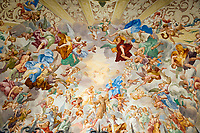 Italy, Piedmont, Orta San Giulio: Sacro Monte di San Francesco - (chapels dedicated to Saint Francis of Assisi - ceiling fresco chapel VII) | Italien, Piemont, Orta San Giulio: Sacro Monte di San Francesco - dem heiligen Franziskus von Assisi geweihte Kapellen - (Kapelle VII: Deckenfresko)
