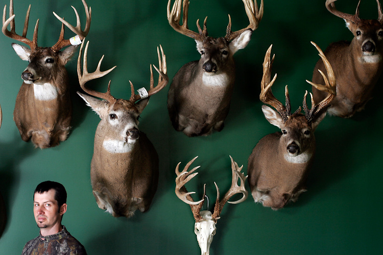Jeremy Priest, owner of Long Beard Taxidermy in Pittsfield, Ill., in front of some of the area's larger deer specimens. The deer skull has a 23-point rack and score of 184, the mounted head above it has a 20-point rack and score of 155, the one to the right of the skull is 14 points with a score of 194.