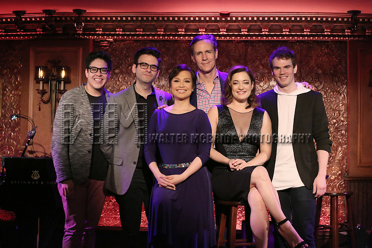 George Salazar, Joe Iconis, Lea Salonga, Howard McGillin, Laura Michelle Kelly and Jay Armstrong Johnson during the Feinsteins/54 Below Press Preview at Feinsteins/54 Below on April 7, 2016 in New York City.