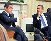 United States President Barack Obama, right, holds a bilateral meeting with President Nicolas Sarkozy of France, left, in the Oval Office of the White House in Washington, D.C. on Monday, January 10, 2011..Credit: Ron Sachs / Pool via CNP