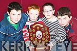 Sport: Eoin Lucey, Alan Mangan, Eamon Dowling and James O'Connor with the Tommy Madden Memorial Shield on Thursday evening, where the Duagh Bord na nOg footballers celebrated their awards ceremony at the Duagh Heritage Centre..   Copyright Kerry's Eye 2008