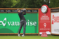 Ricardo Gouveia (POR) tees off the 9th tee during Saturday's Round 3 of the 2017 Omega European Masters held at Golf Club Crans-Sur-Sierre, Crans Montana, Switzerland. 9th September 2017.<br /> Picture: Eoin Clarke | Golffile<br /> <br /> <br /> All photos usage must carry mandatory copyright credit (&copy; Golffile | Eoin Clarke)