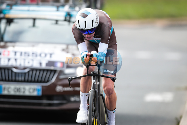 Romain Bardet (FRA) AG2R La Mondiale in action during Stage 4 of the 78th edition of Paris-Nice 2020, and individual time trial running 15.1km around Saint-Amand-Montrond, France. 11th March 2020.<br /> Picture: ASO/Fabien Boukla | Cyclefile<br /> All photos usage must carry mandatory copyright credit (© Cyclefile | ASO/Fabien Boukla)