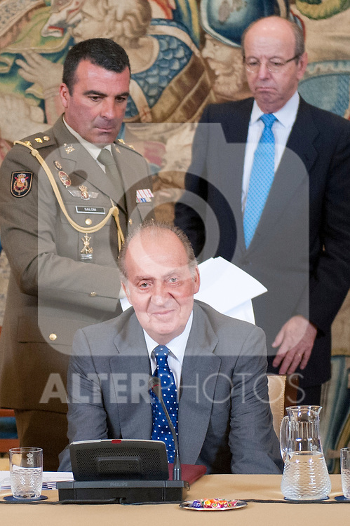 King Juan Carlos I of Spain attends the annual meeting of the board of the Carolina Foundation. In the picture The King Juan Carlos I of Spain. July 10,2012.(ALTERPHOTOS/Ricky)