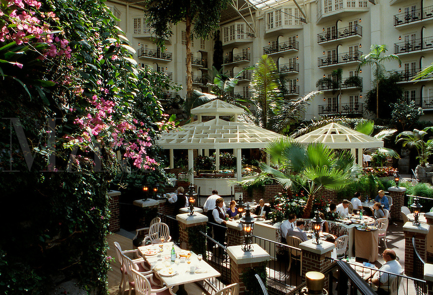 Outdoor dining in the Cascade Conservatory space in the vast Opryland Hotel, Nashville, Tennessee