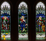 Stained glass window, Chute church, Wiltshire, England, UK Saints Michael, Mary and George
