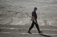 Pictured: Detective Inspector Jon Cousins of South Yorkshire Police works at the farmhouse, where Ben Needham disappeared from in Kos, Greece. Friday 07 October 2016<br />Re: Police teams led by South Yorkshire Police, searching for missing toddler Ben Needham on the Greek island of Kos have moved to a new area in the field they are searching.<br />Ben, from Sheffield, was 21 months old when he disappeared on 24 July 1991 during a family holiday.<br />Digging has begun at a new site after a fresh line of inquiry suggested he could have been crushed by a digger.